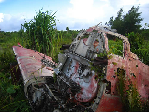 The remains of a WWII-era Japanese Zero on Yap. Photo by Simo