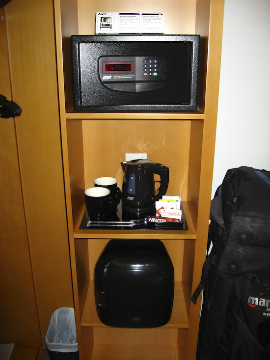 Ibis Singapore Hotel Room Safe, Kettle and Fridge