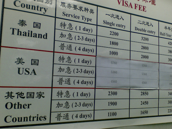 Chinese Embassy Bangkok Visa Prices