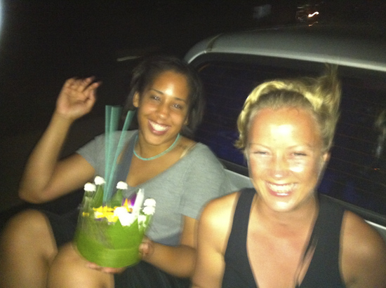 Janelle and Ayesha In The Back Of The Pickup En Route To Lanta Old Town