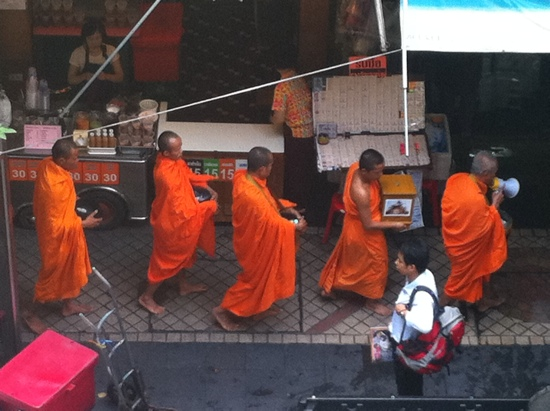 Monk with a megaphone