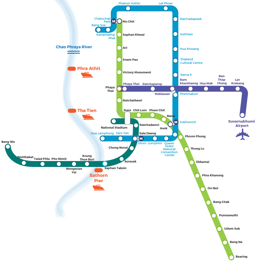 Bangkok Bts Map Bangkok BTS And MRT Map   Travel Happy Bangkok Bts Map